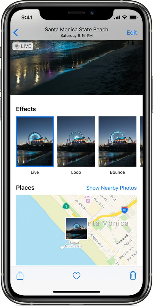 A live photo showing effects and map